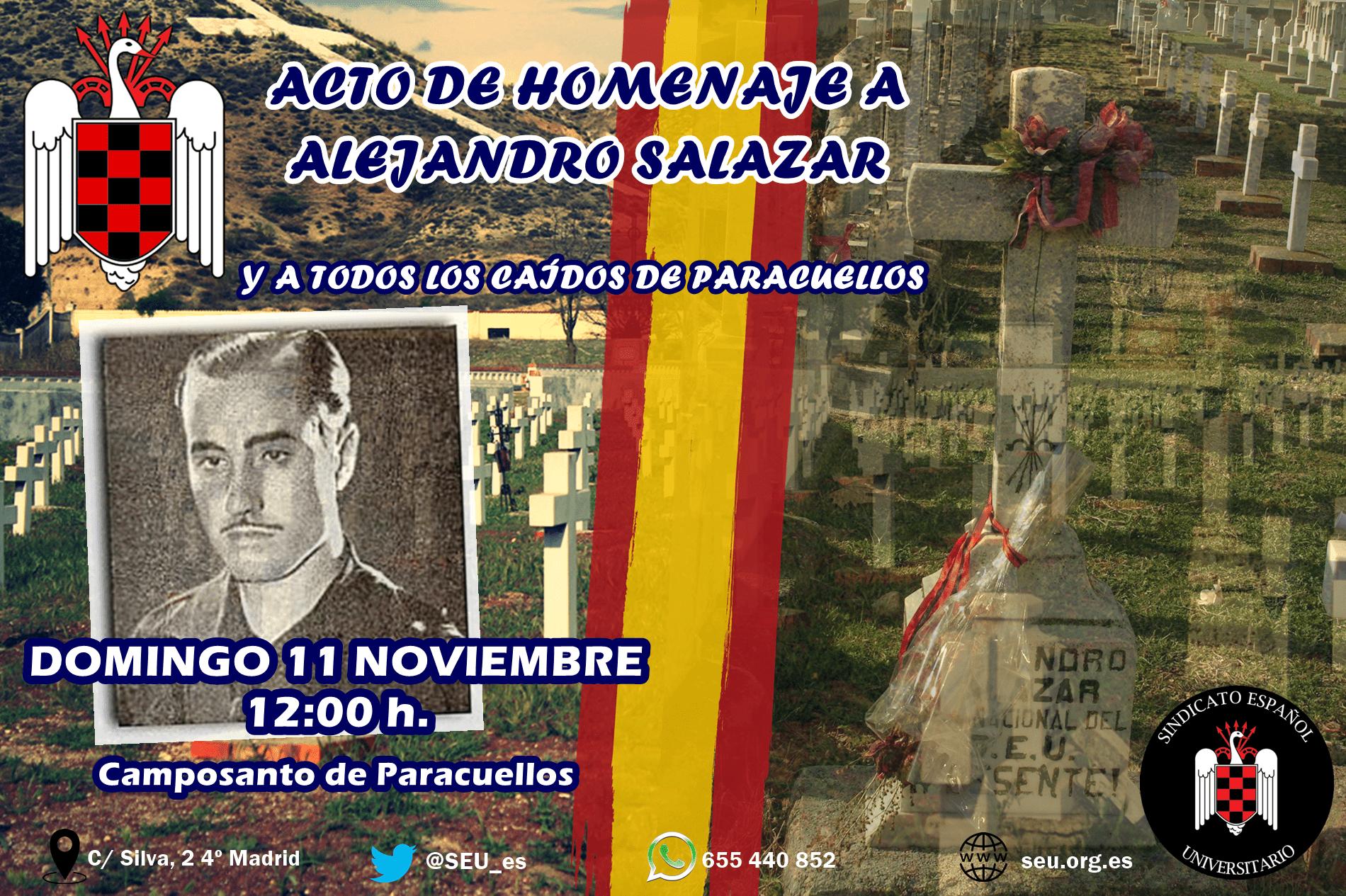 Domingo 11-N: Homenaje a Alejandro Salazar y demás Caídos en Paracuellos