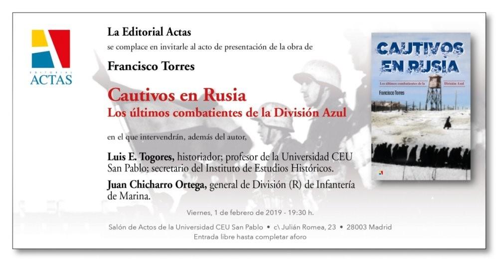 """Viernes, 1 de Febrero: presentación del libro """"Cautivos en Rusia"""" en la Universidad CEU San Pablo"""