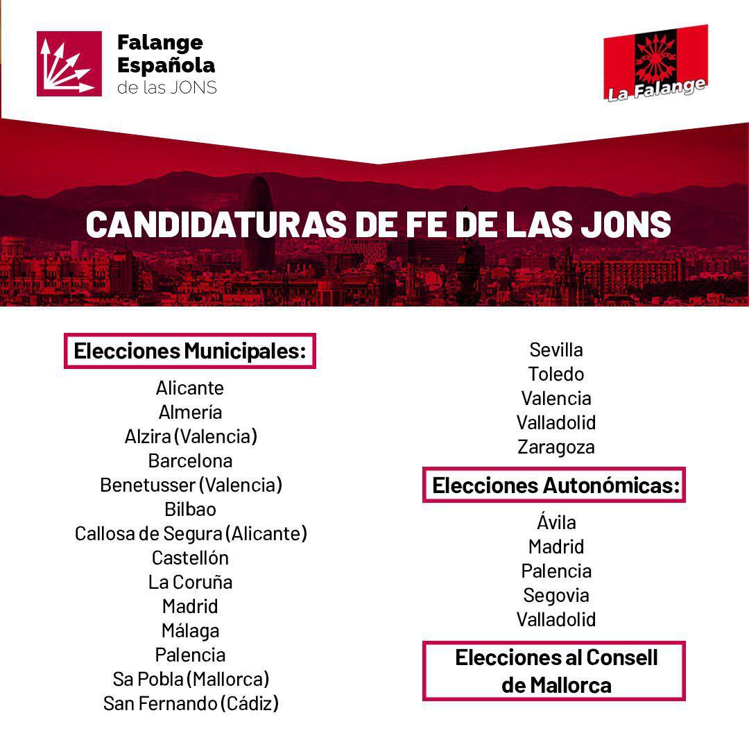 Lugares donde se presenta La Falange junto a FEJONS en las Elecciones Autonómicas y Municipales 2019