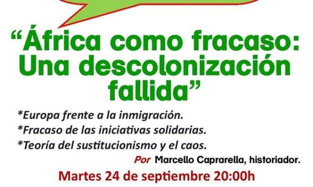 """Tertulia de Avance Social, Martes 24 de Septiembre a las 20 h: """"África como fracaso: Una descolonización fallida"""""""
