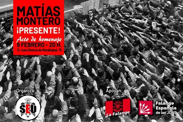 Sábado 8-F: Acto del S.E.U. en homenaje a Matías Montero