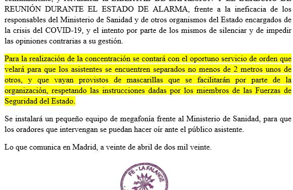Nota de prensa de La Falange ante el acto del 2 de Mayo