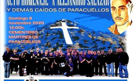 Acto de homenaje a Alejandro Salazar, II Jefe Nacional del SEU, y a todos los caídos de Paracuellos
