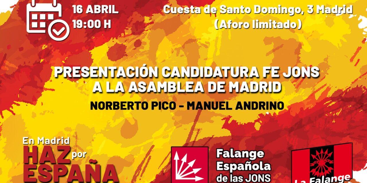 Presentación de la campaña de FE-JONS a la Asamblea de Madrid