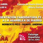 Sigue en directo la Presentación de la campaña de FE-JONS a la Asamblea de Madrid